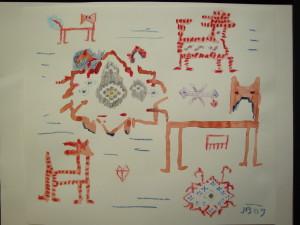 John Batki - Kilimology - Untitled Crayon, watercolor, paper 9 x 12 inches