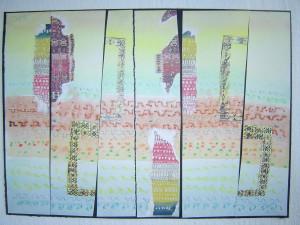 John Batki - Kilimology - Kleeifications Watercolor, collage, paper 14 x 11 inches