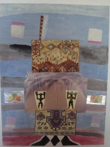 John Batki - Kilimology - Kilimo Head Acrylic and collage on canvas board 14 x 17 inches