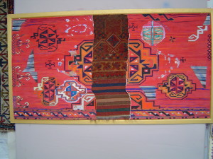 John Batki - Kilimology - Them Central Asian Reds Assemblage: watercolor on paper and antique Turkoman rug fragment 54 x 31 inches